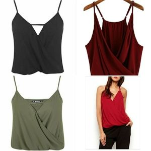 Red Cami wrap tops